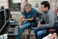 Director George Clooney and producer Grant Heslov on the set of