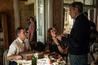 Matt Damon, Cate Blanchett and director George Clooney on the set of