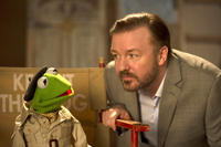 Kermit The Frog voiced by Steve Whitmire and Ricky Gervais as Dominic Badguy in