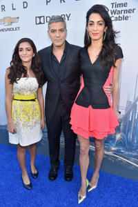 Mia Alamuddin, George Clooney and Amal Clooney at the California world premiere of