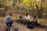 Director Jeff Nichols, Jacob Lofland, Matthew McConaughey and Tye Sheridan on the set of in