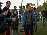 Alexander Skarsgard, Ellen Page and director Zal Batmanglij on the set of