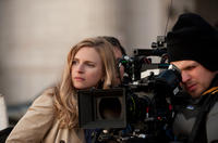 Brit Marling on the set of