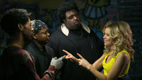 Alphonso McAuley as Pookie, Lawrence Gilliard Jr. as Scrilla, Da'Vone McDonald as Hulk and Elizabeth Banks as Meghan Miles in