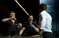 Director Danny Boyle, James McAvoy and Vincent Cassel on the set of