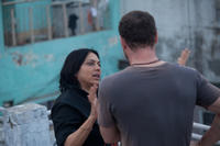 Director Mira Nair and Liev Schreiber on the set of
