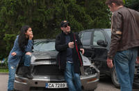 Selena Gomez, director Courtney Solomon and Ethan Hawke on the set of