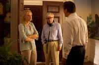 Cate Blanchett, director Woody Allen and Alec Baldwin on the set of