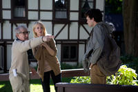 Director Woody Allen, Cate Blanchett and Alden Ehrenreich on the set of