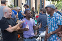 Director Steve Pink, Kevin Hart and producer Will Packer on the set of