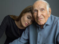 Director Angelina Jolie and Louis Zamperini on the set of