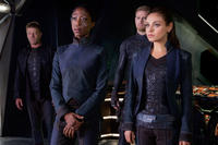 Sean Bean as Stinger Apini, Nikki Amuka-Bird as Diomika Tsing, Channing Tatum as Caine Wise and Mila Kunis as Jupiter Jones in
