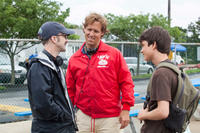Director Jim Rash, director Nat Faxon and Liam James on the set of