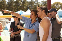 Maya Rudoplh, Sam Rockwell and director Jim Rash on the set of