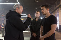 Director Neil Burger, Jai Courtney and Theo James on the set of