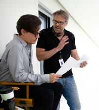 Johnny Depp and director Wally Pfister on the set of