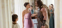 Irina Shayk as Megara and Dwayne Johnson as Hercules in