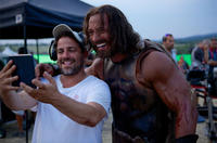 Director Brett Ratner and Dwayne Johnson on the set of