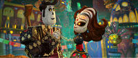 Manolo voiced by Diego Luna and Carmen Sanchez voiced by Ana de la Reguera in