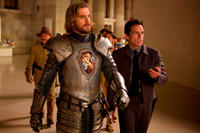 Dan Stevens as Lancelot and Ben Stiller as Larry Daley in