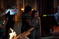 Kit Harington and Emily Browning on the set of