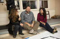 Nicole Holofcener, James Gandolfini and Julia Louis-Dreyfus on the set of