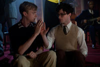 Dane DeHaan as Lucien Carr and Daniel Radcliffe as Allen Ginsburg in