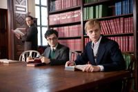 Ben Foster as Williams Burroughs, Daniel Radcliffe as Allen Ginsberg and Dane DeHaan as Lucien Carr in