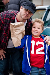 Director Jeff Tremaine and Jackson Nicoll on the set of