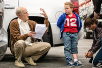 Johnny Knoxville and Jackson Nicoll on the set of