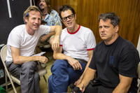 Spike Jonze, Johnny Knoxville and Jeff Tremaine on the set of