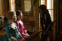 Sarah Gadon, Gugu Mbatha-Raw and director Amma Asante on the set of