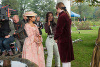 Gugu Mbatha-Raw and director Amma Asante on the set of