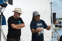 Director Charles Martin Smith and Director of Photography Daryn Okada on the set of