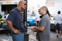 Dwayne Johnson and director Dito Montiel on the set of