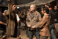 Liam Hemsworth, director Francis Lawrence and Jennifer Lawrence on the set of