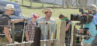 Luke Perry on the set of