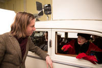 Wes Anderson and Tilda Swinton on the set of