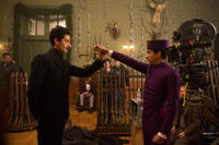 Adrien Brody and Tony Revolori on the set of