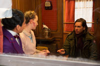 Tony Revolori, Saoirse Ronan and Wes Anderson on the set of