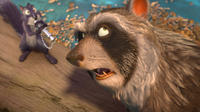 Surly voiced by Will Arnett and Raccoon voiced by Liam Neeson in