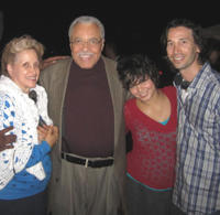 Ann Dowd, James Earl Jones, Vanessa Hudgens and director Ronald Krauss on the set of