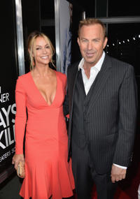 Christine Baumgartner and Kevin Costner at the California premiere of