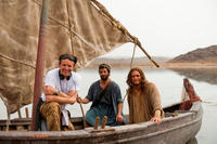 Producer Mark Burnett, Darwin Shaw and Diogo Morgado on the set of