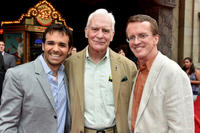 Producer Ferrell Barron, Dale Dye and director Roberts Gannaway at the World premiere of