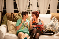 Paul Iacono as Brent Van Camp and Megan Mullally as Mrs. Van Camp in