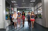 Taylor Frey as Topher, Andrea Bowen as Shley, Xosha Roqemore as Caprice, Michael J. Willett as Tanner and Sasha Pieterse as Fawcett in