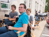 Ansel Elgort, John Green and Shailene Woodley on the set of
