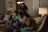 Jon Hamm as JB Bernstein, Suraj Sharma as Rinku, Madhur Mittal as Dinesh and Pitobash as Amit in