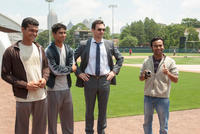 Madhur Mittal as Dinesh, Suraj Sharma as Rinku, Jon Hamm as JB Bernstein and Pitobash as Amit in